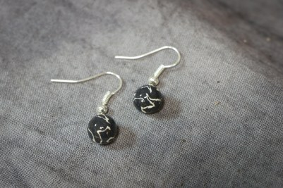 Black & White Marble Sphere Earrings