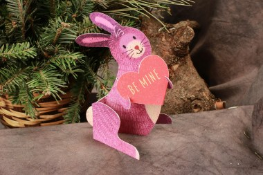 3D Bunny Valentine Card, purple