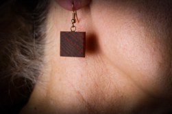 Dark Wood Square Shape Earrings