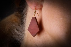 Red Wood Diamond Shape Earrings